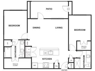 Two Bed Two Bath Floor Plan at Windsor Ridge, Austin, 78727