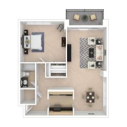 1 Bedroom Floor Plan Image 840 sq ft