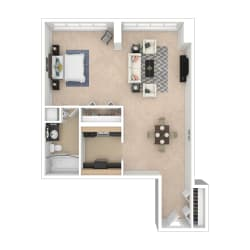 Studio B Floor Plan Image 540 sq ft #D Furnished