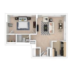 Tier 4 1 bedroom floor plan image 820 sq ft
