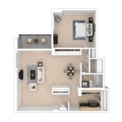 Tier 27 1 bedroom floor plan image 1048 sq ft