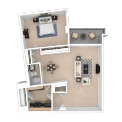 Tier 3 1 bedroom floor plan image 752 sq ft
