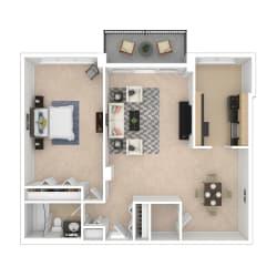 1 Bedroom Floor Plan image 834-858 Sq ft