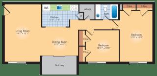 Floor Plan 2 Bedrooms 1 Bath 989 SqFt