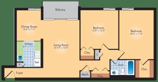 Floor Plan 2 Bedroom 1 Bath 1042 Sqft
