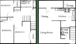 Floor Plan 3 Bedroom 1.5 Bath Townhome