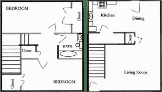Floor Plan 2 Bedroom 1 Bath Townhome
