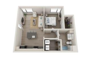 Tempo Floor Plan, 1-Bed 1-Bath, 667 SQFT.