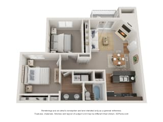 Floor Plan 2 Bed 1 Bath - Renovated