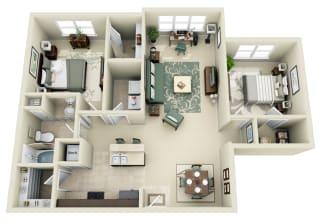 B1 Floor Plan at Carolina Point Apartments, Greenville, South Carolina