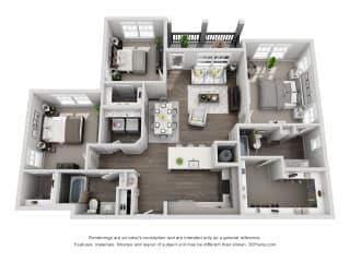 D1 3 Bedroom 2 Bath Floor Plan at Central Island Square, Charleston, SC