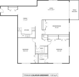 The Calhoun Greenway Apartments in Minneapolis, MN 2 Bedroom 2 Bath Plus Den