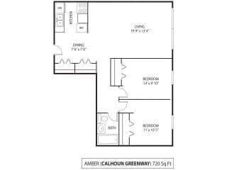The Calhoun Greenway Apartments in Minneapolis, MN 2 Bedroom 1 Bath