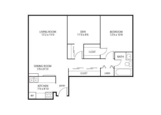 The Edina Towers Apartments in Edina, MN 1 Bedroom 1 Bath Plus Den