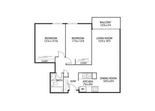 The Edina Towers Apartments in Edina, MN 2 Bedroom 1 Bath