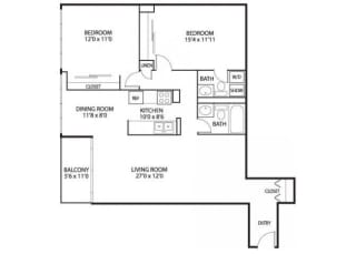 The Edina Towers Apartments in Edina, MN 2 Bedroom 2 Bath Penthouse