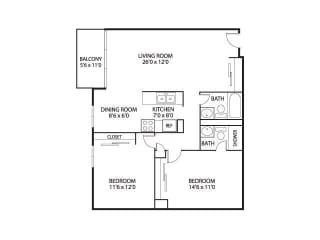 The Edina Towers Apartments in Edina, MN 2 Bedroom 2 Bath