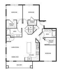 Evans Meadows Apartments in Elk River, MN 3 Bedroom 2 Bath