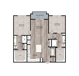 The Edison at Frisco C2 Two Bedroom Two Bathroom Floor Plan