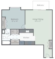 1 Bedroom 1 Bath 757 sq ft floor plan image