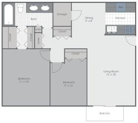2 Bedroom 1 Bath 928 sq ft floor plan image
