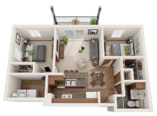 Two bedroom 1 bath 3D floorplan