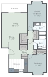 2 Bedroom 2 Bath 1102 sq ft floor plan image