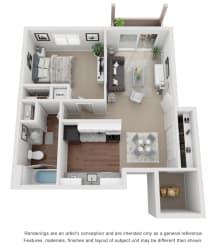 1 Bed 1 Bath 600 sq ft 3D floor plan.