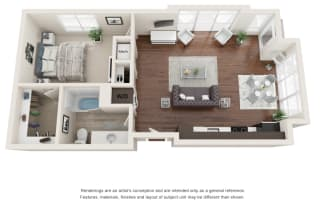 One bedroom, one bathroom three-dimensional floor plan layout. Bedroom and bathroom to the right of the layout with the living and kitchen to the right.