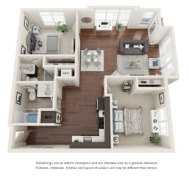Two bedroom, two bathroom three-dimensional floor plan layout with balcony. One bedroom has an on-suite.
