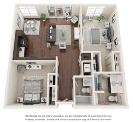 Two bedroom, two bathroom three-dimensional floor plan layout.  Large master suite to the right of the floor plan.