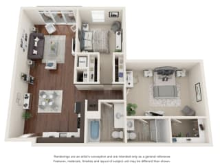 Two bedroom, two bathroom three-dimensional floor plan layout. Bedrooms in the back with living area and kitchen in front.