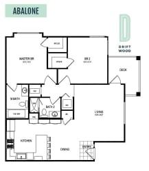 Abalone - 2 Bedroom 2 Bath Floor Plan Layout - 1073 Square Feet