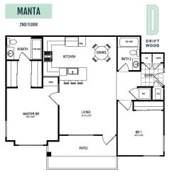 Manta 2nd Floor - 2 Bedroom 2 Bath Floor Plan Layout - 1025 Square Feet