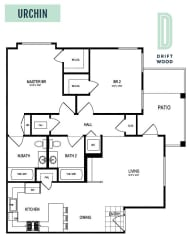 Urchin - 2 Bedroom 2 Bath Floor Plan Layout - 1073 Square Feet