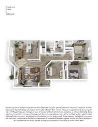 Echo Mountain Apartments 3 Bedroom 2 Bathroom Floor Plan