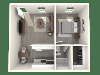 SITE Scottsdale Apartments A1 3D Floor Plan