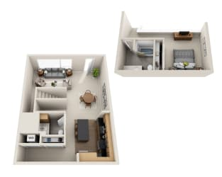 Waterscape at Juanita Village Apartments A1BT Floor Plan
