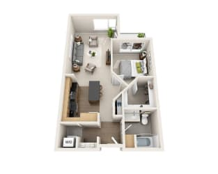 Waterscape at Juanita Village Apartments A1E Floor Plan