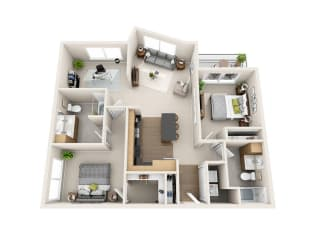 Waterscape at Juanita Village Apartments B2AD Floor Plan