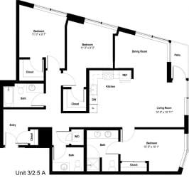 The Danforth Apartments 3x2_5A Floor Plan
