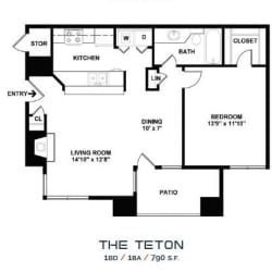 Floor Plan 1 Bed 1 Bath B