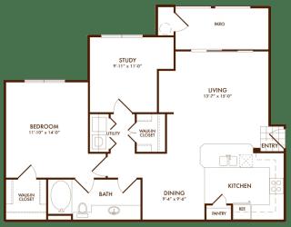 Hudson Miramont Apartments A3 Floor Plan