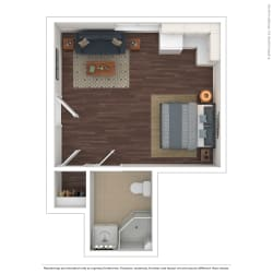 The Westlyn Apartment Homes 1x1 3D Furnished Floor Plan