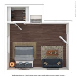 The Westlyn Apartment Homes Efficiency Studio 3D Furnished Floor Plan