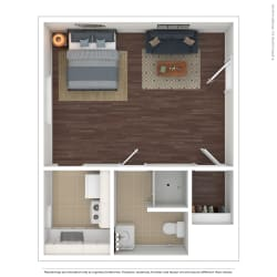 The Westlyn Apartment Homes Studio 3D Furnished Floor Plan