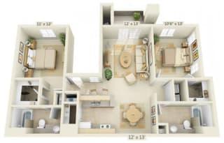 Stoneridge Apartments Limestone 2x2 Floor Plan 1077 Square Feet