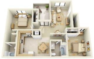 River Pointe Apartments 2x2 Floor Plan 875 Square Feet