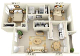 Sir Charles Court Apartments 2x1 Floor Plan 896 Square Feet