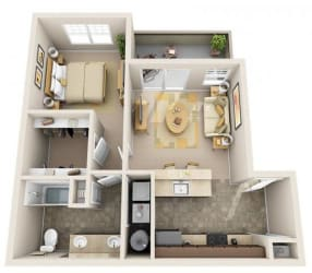 The Landing Apartments The Stern 1x1 Floor Plan 652 Square Feet